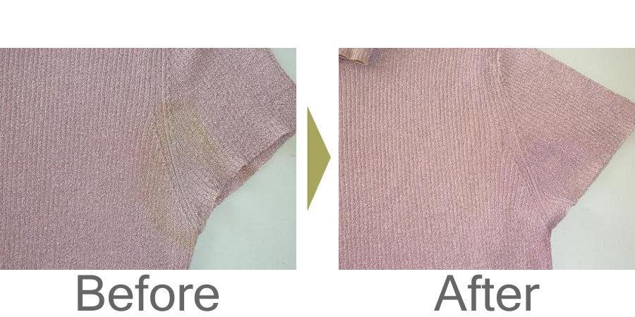 お気軽にお問い合わせください!,セーター 脇の黄ばみの復元加工