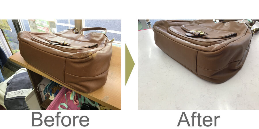 お気軽にお問い合わせください!,バッグのスレ直しとダークアップ加工とスライダー交換