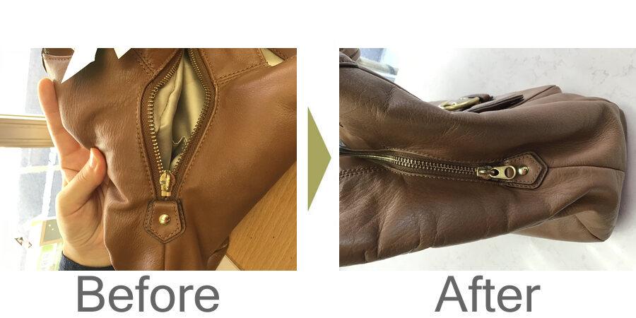 お気軽にお問い合わせください!,バッグの壊れたファスナーを修理。さらにダークアップ加工
