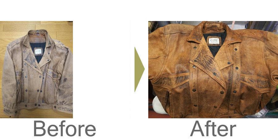 お気軽にお問い合わせください!,革ジャンの襟反転修理と洗い