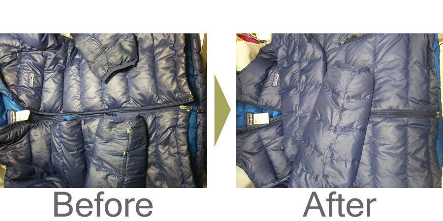 お気軽にお問い合わせください!,patagoniaダウンウエアの穴修理と洗濯