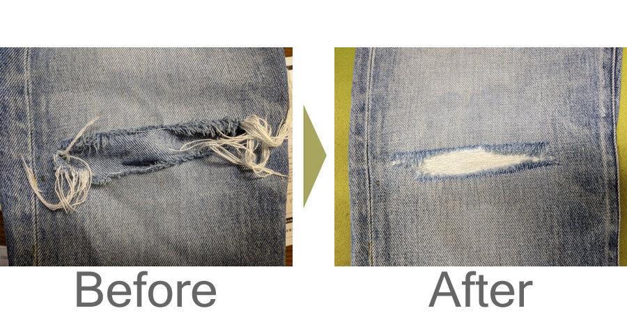 お気軽にお問い合わせください!,デニムの横糸リペア修理