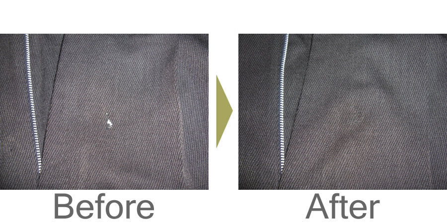 お気軽にお問い合わせください!,ズボンの虫食い穴修理 接着修理でほとんどわからなくなります。