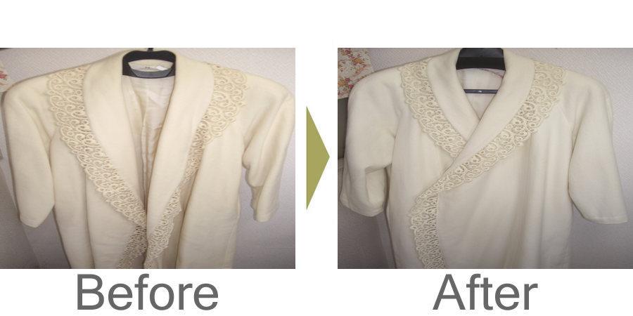 お気軽にお問い合わせください!,アンゴラのコート復元加工 黄ばみを復元加工で白く綺麗にいたしました。