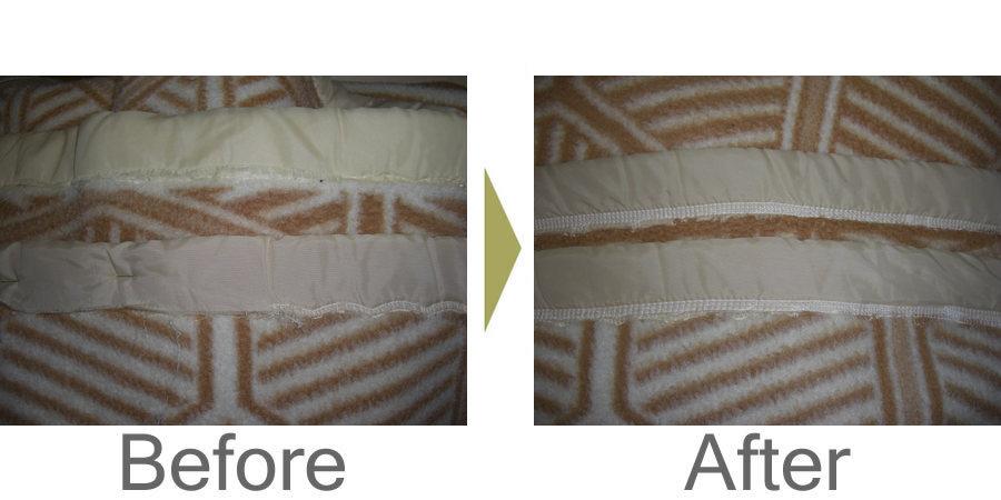 お気軽にお問い合わせください!,毛布の周りの布がほつれてしまいました。 ミシン修理で直ります。