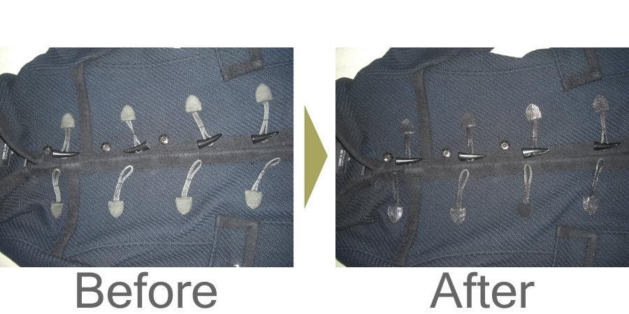 お気軽にお問い合わせください!,ダッフルコートの合皮が剥げてしまいました。合皮復元加工で直ります。