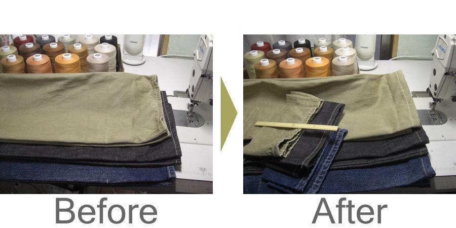 お気軽にお問い合わせください!,ジーンズの丈詰めは、糸の色を合わせて修理いたします。ジーンズのキズ・穴修理もご相談ください。