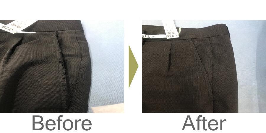 お気軽にお問い合わせください!,ズボンのポケット口の擦り切れ修理