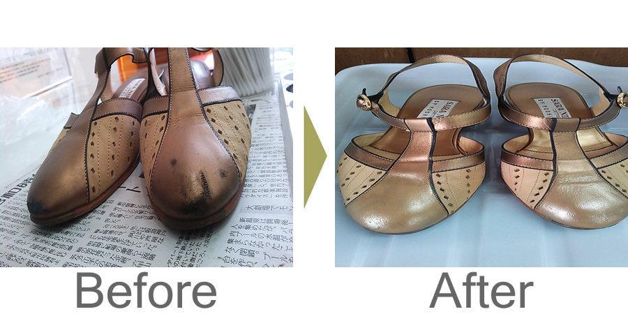 お気軽にお問い合わせください!,銀座ヨシノヤ 合成皮革デザインパンプスの復元