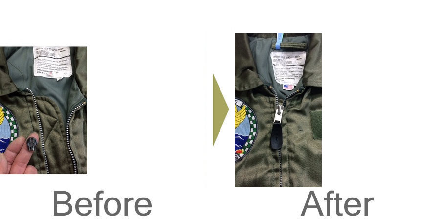 お気軽にお問い合わせください!,フライトジャケットのファスナー修理、スライダー交換‼️