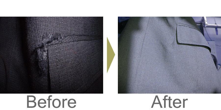 お気軽にお問い合わせください!,ジャケットのポケット口脇の破れ修理