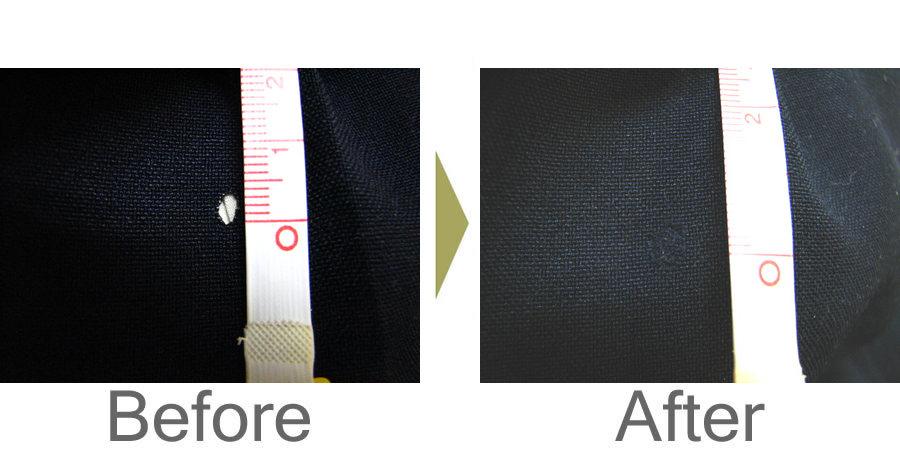 お気軽にお問い合わせください!,ポリエステル製スラックスのたばこ焼けこげ穴の修理