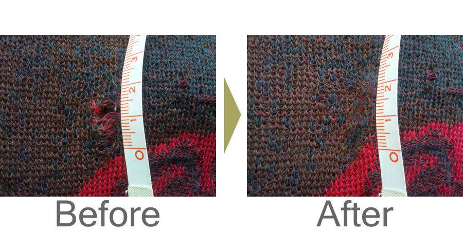 お気軽にお問い合わせください!,セーター 柄のそばの虫食い修理