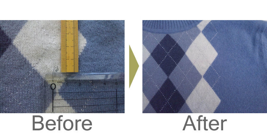 お気軽にお問い合わせください!,ダイヤチェック柄カシミヤセーター 虫食い修理