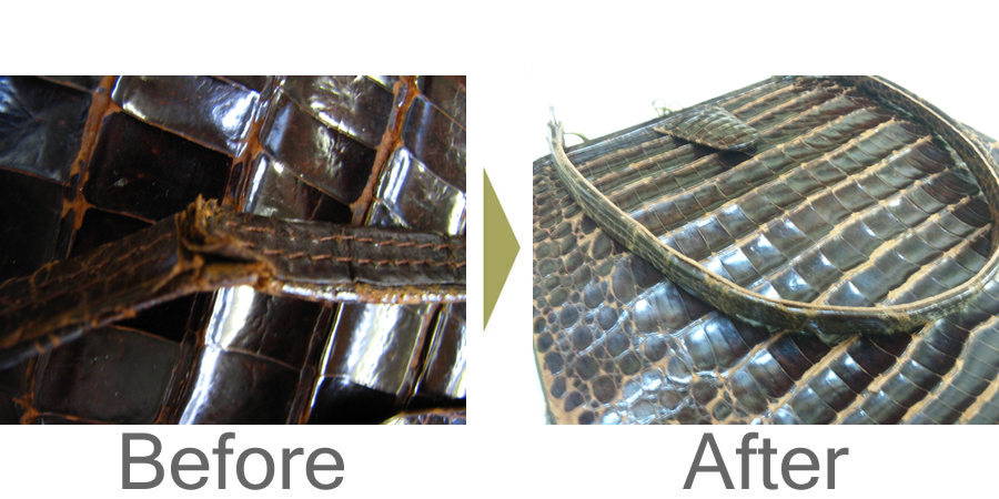 お気軽にお問い合わせください!,アンティーククロコダイルハンドバッグ 持ち手補強修理