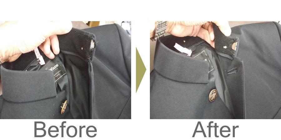 お気軽にお問い合わせください!,学生服 衿のカギホック 修理