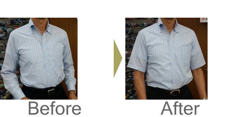 お気軽にお問い合わせください!,ワイシャツ 長袖を半袖にリフォーム