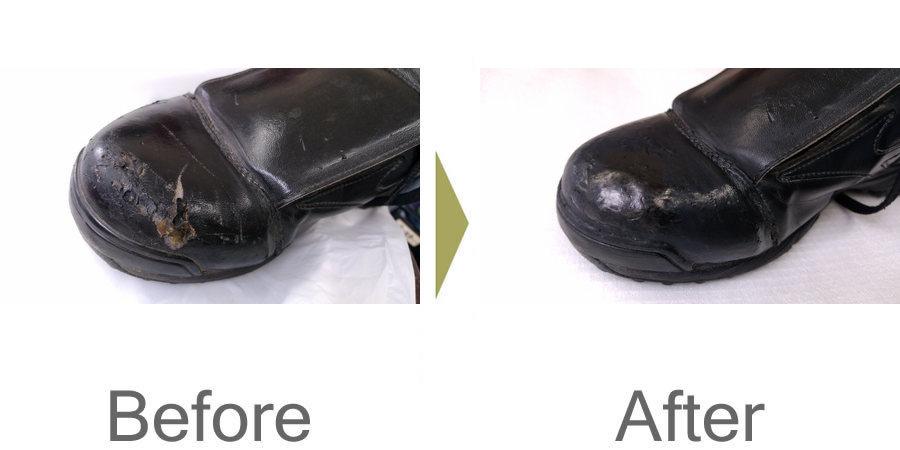 お気軽にお問い合わせください!,靴の先のキズ 革の復元