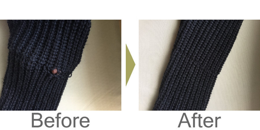 お気軽にお問い合わせください!,セーターの穴あき修理