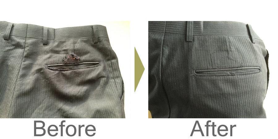 お気軽にお問い合わせください!,スラックス後ろポケットの破れ修理