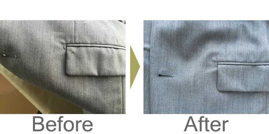 お気軽にお問い合わせください!,ジャケットの上フタの穴開き修理