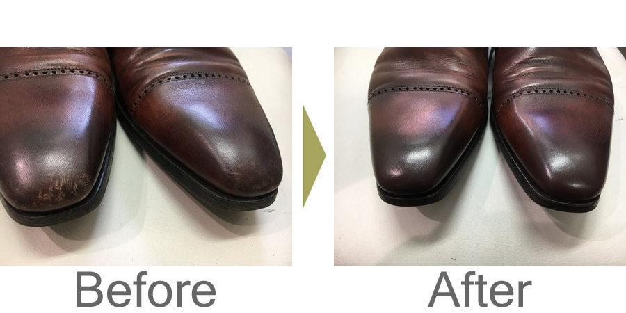 お気軽にお問い合わせください!,革靴のつま先のキズの修理