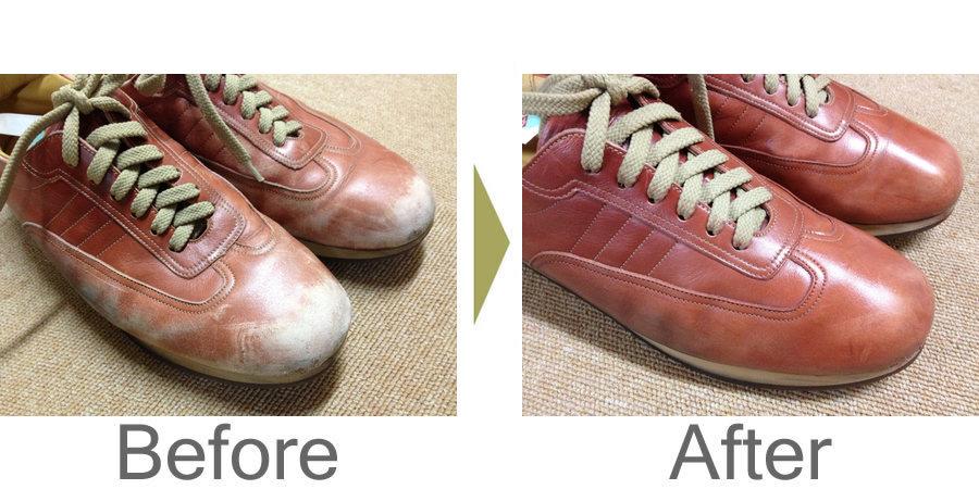お気軽にお問い合わせください!,スニーカーの色はげを靴磨きで・・・