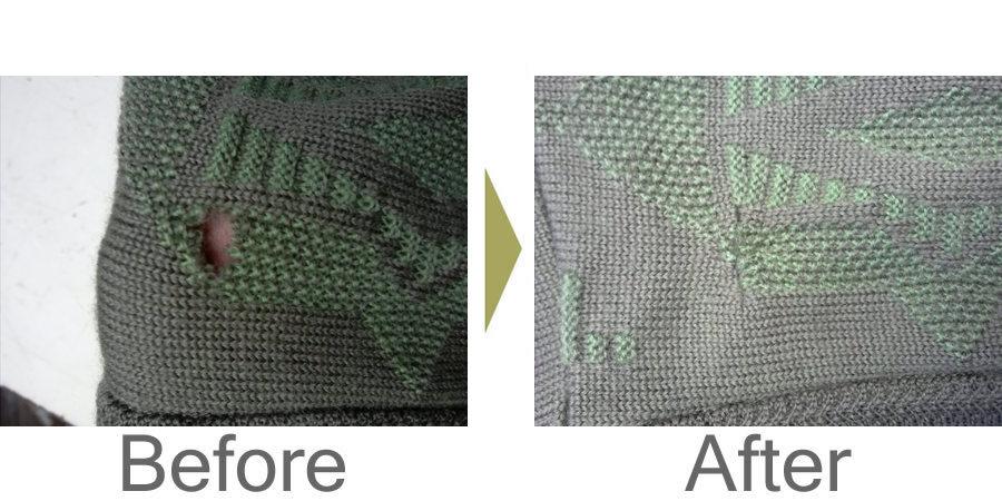 お気軽にお問い合わせください!,セーターの虫食い修理