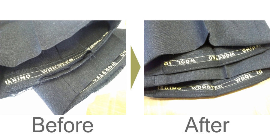 お気軽にお問い合わせください!,スラックス 両裾のすり切れ修理