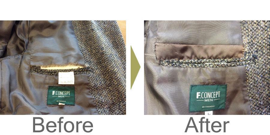 お気軽にお問い合わせください!,ジャケットのポケット修理