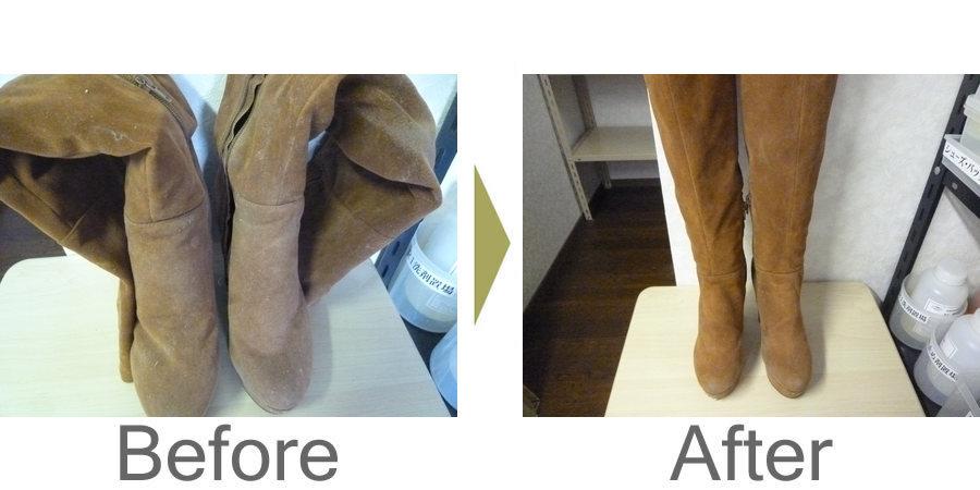 お気軽にお問い合わせください!,スウェード婦人ブーツの型崩れ、クリーニング