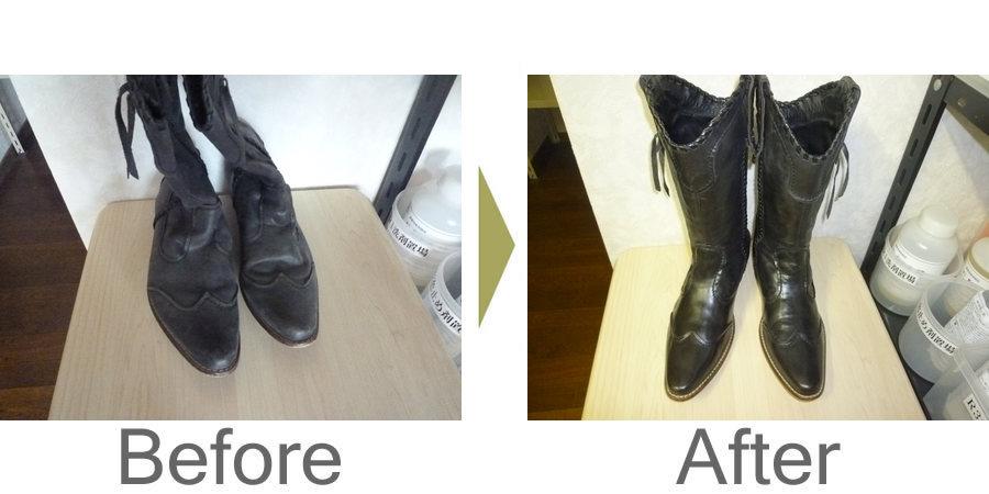お気軽にお問い合わせください!,皮革銀面ブーツの型崩れ直しとクリーニング