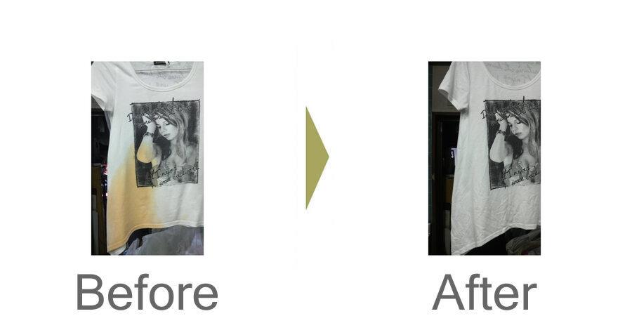 お気軽にお問い合わせください!,プリント柄の有るTシャツに ラー油 が掛かってしまった!!