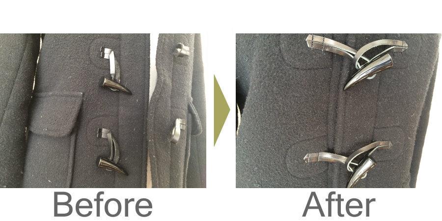 お気軽にお問い合わせください!,ダッフルコートの合皮ひも 取り替え修理